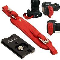 Genuine Leather camera hand grip strap + Plate - Red - Film DSLR vintage Cute