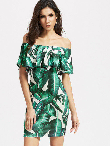4d0489807545 Elegante vestito abito corto tubino corto verde verde verde fiori slim  aderente 4329 e6733e