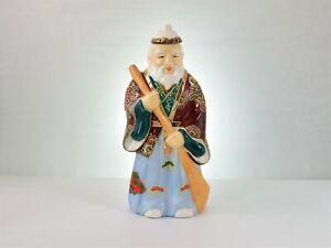 1950s Kamotsuru Sake Empty Alcohol Bottle, Moriage Ceramic Japanese Warrior XLNT