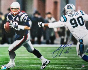 Julius Peppers Signed Carolina Panthers Chasing Tom Brady 16x20 Photo - SS COA
