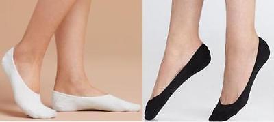 Damas Mujeres Invisible Calcetines Zapatilla Zapato manitas Forro Negro Blanco - 4-7