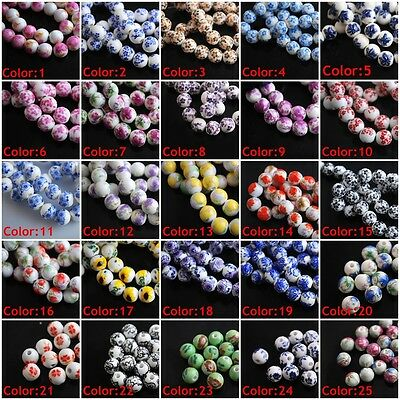10mm Charms Flowers Round Porcelain Beads Spacer Craft Jewelry 26Colors U Pick