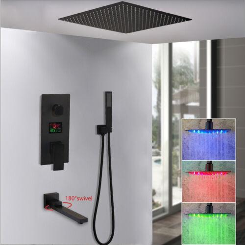 """16/"""" LED 3-Way Shower Faucet Mixer Set Digital Valve Rain Shower Head Taps Black"""