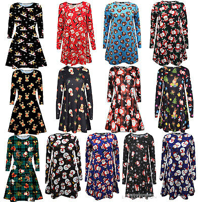 Christmas Dresses Womens.Ladies Kids Santa Christmas Dress Women S Party Swing Flared Skater Dresses New Ebay