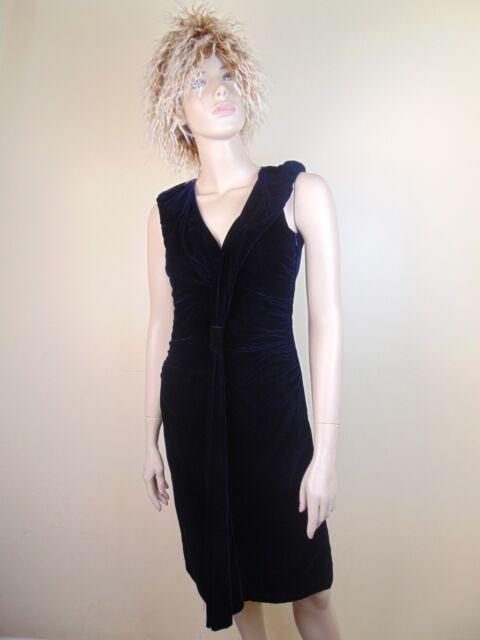 3f5d5a605f0 NWT PRADA DARK BLUE VELOUR V NECK SLEEVELESS EVENING DRESS 38 ITALY  2550