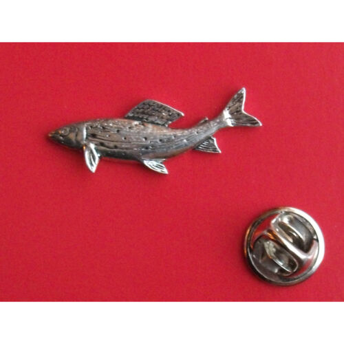 English Pewter  Fish Fishing GRAYLING Pin Badge Tie Pin Lapel Badge F8