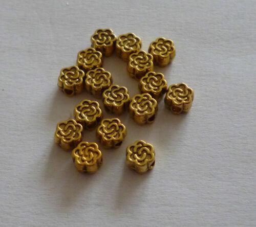 15 Stück Tibet Style Antik goldfarbig Perlen Blume ca.5x3mm