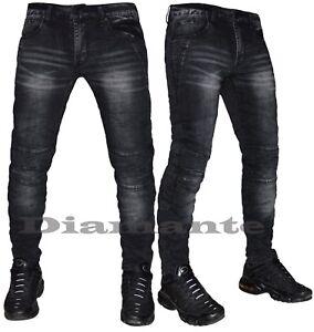 Jeans Uomo Nero Denim Biker Pantaloni Slim Elasticizzati Nuovo 6625