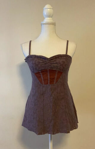 Free People Lace Cami Corset Top~Purple Removable
