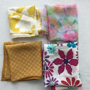 LOT 4 square fashion scarves purple pink floral gold roses polyester 20 x 20
