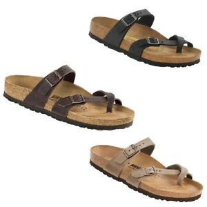 f5d9daf6d5b Details about Birkenstock Mayari Leather Oiled Waxy Tobacco Black Habana  Slides Thongs Sandals