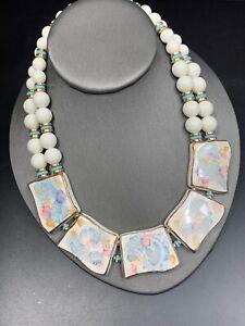 "Ladies Bib Statement Necklace White Beaded Gold Ceramic Pastel Statement Bib 16"""