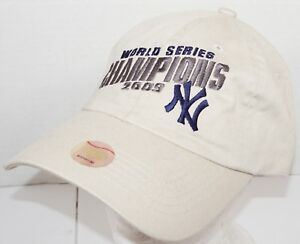ad46ba659 NEW YORK YANKEES CHAMPIONS 2009 HAT - ONE SIZE ADJUSTABLE BEIGE ...