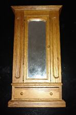 doll house miniature, wood wardrobe, opening door and drawer