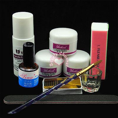 Portable Nail Art Tool Kit Set Crystal Powder Acrylic Liquid Dappen Dish Brush