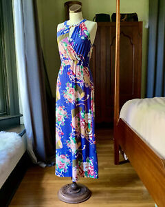 VERTIGO-Floral-Maxi-Sleeveless-Summer-Dress-NWOT