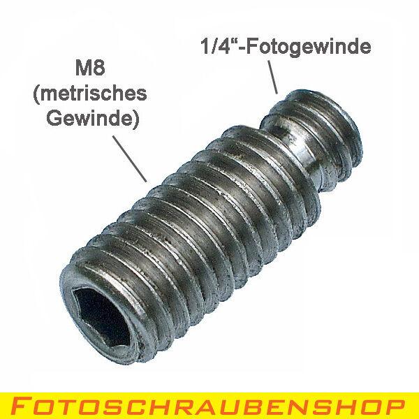 """Foto Stativ Gewinde-Adapter 1//4/"""" 3//8/"""" Zoll Rändel-Schraube Außengewinde Photo"""