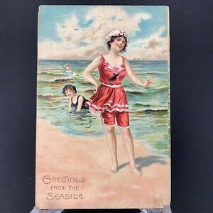 Early-1900s-Antique-Bathing-Beauty-Postcard-Beach-Woman-VTG-Raphael-Tuck-amp-Sons