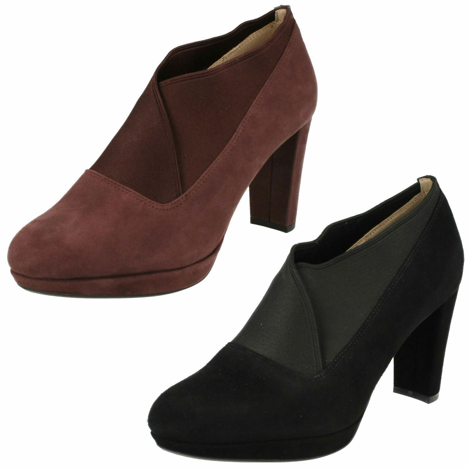 LADIES CLARKS SUEDE SLIP ON Stiefel ELASTICATED FORMAL HEELED Schuhe Stiefel ON KENDRA MIX a61d94