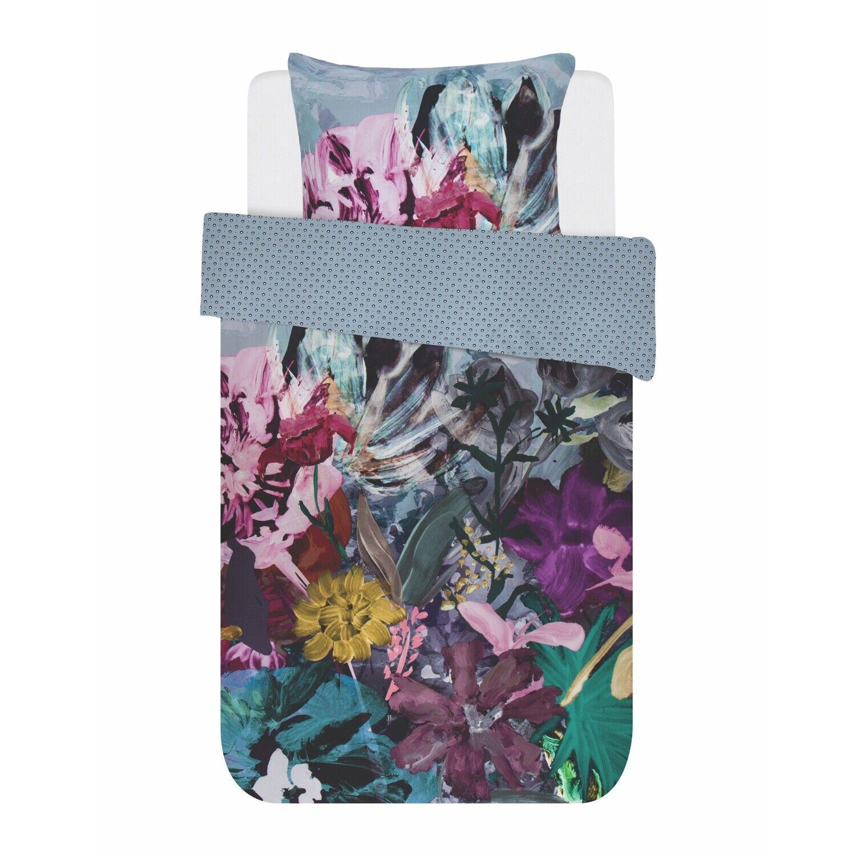 ESSENZA linge de lit Hanna Bleu Pétales Fleurs Feuilles tournant aspect Couleuré satin