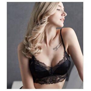 d4b2c153f64 Women 100% Silk Triangle Bralette Bra Soft Cup Lace Top Lingerie ...