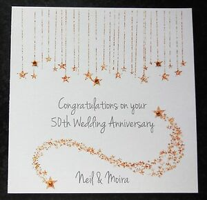 personalised handmade 50th golden wedding anniversary card ebay