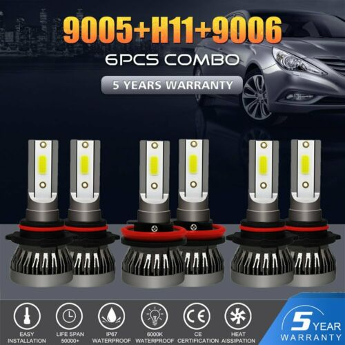 Combo 9005 9006 CREE LED Headlight Kit Hi Low Bulbs 6000K 4950W 585000LM H11