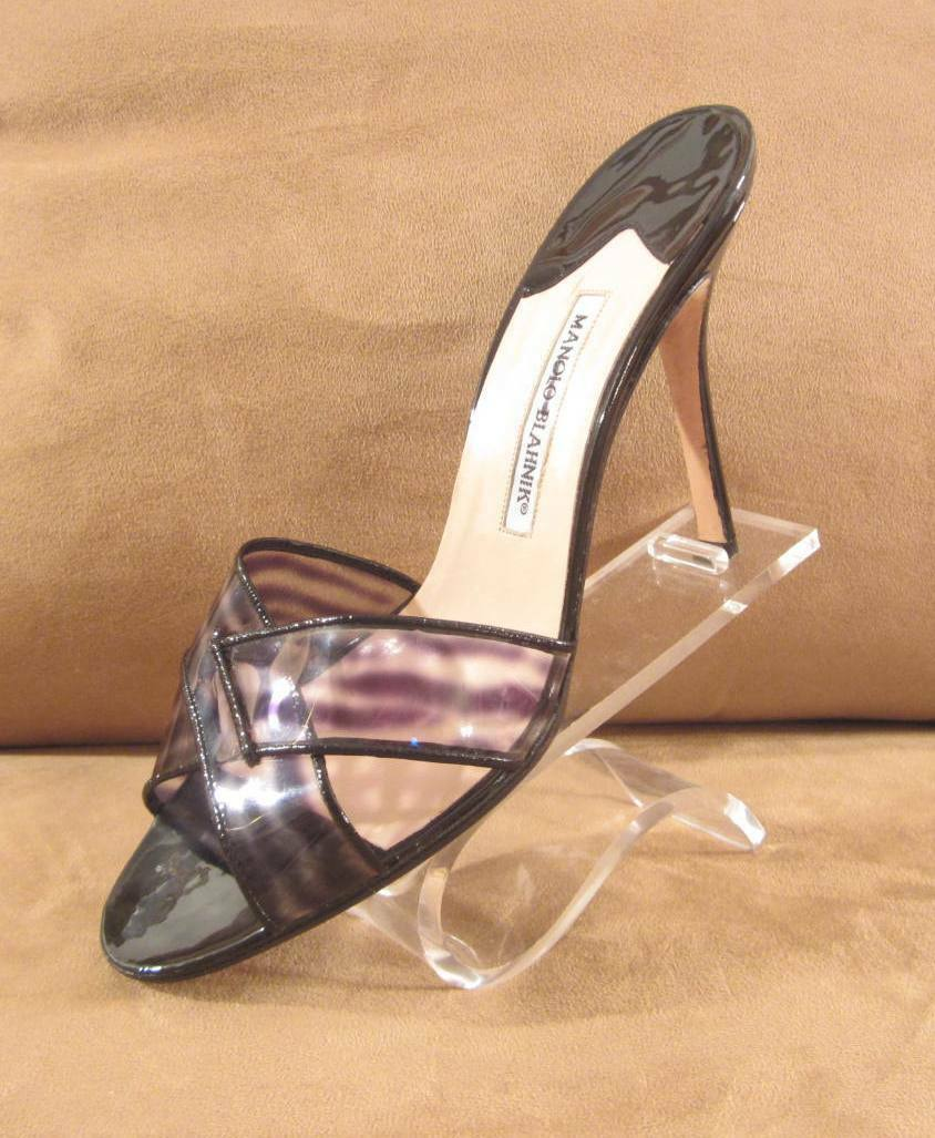 MANOLO BLAHNIK BLACK PATENT LEATHER HEELS TRANSLUCENT TIGER STRIPE SLIDE HEELS LEATHER 41.5 cb9dc3