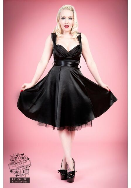 H&R LONDON BLACK SATIN MARILYN 50s PINUP ROCKABILLY VINTAGE PARTY PROM DRESS