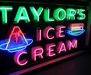 1940-039-s-Porcelain-neon-Taylors-ice-Cream-sign-for-diner-parlor-auto-museum-OLD
