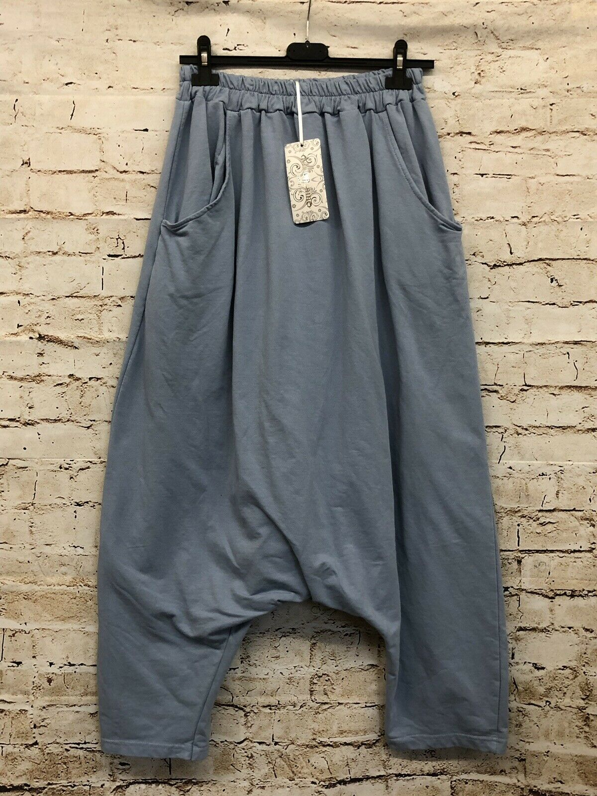 Moonshine Mode Hose Lagenlook Größe 42 44 Leisure Harem Hose Pump Trousers New Blau
