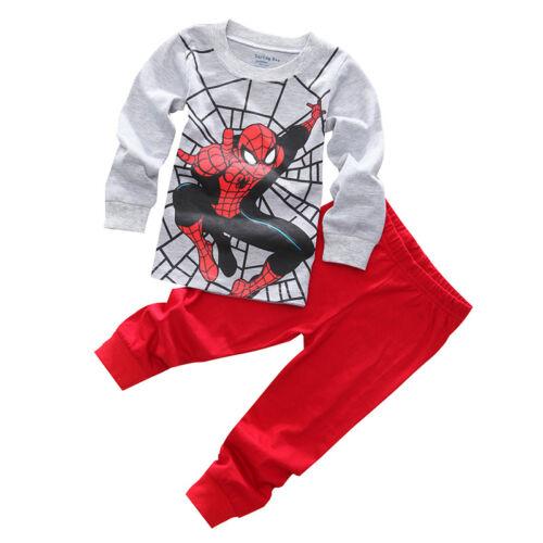 2PCS Kids Boys Cartoon Spiderman Pajamas Sleepwear Outfits Cosplay Fancy Dress