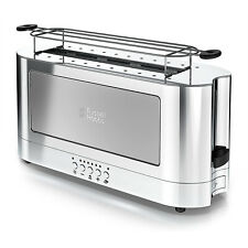Russell Hobbs 2Slice Stainless Steel Long Toaster Silver Glass Accent TRL9300GYR