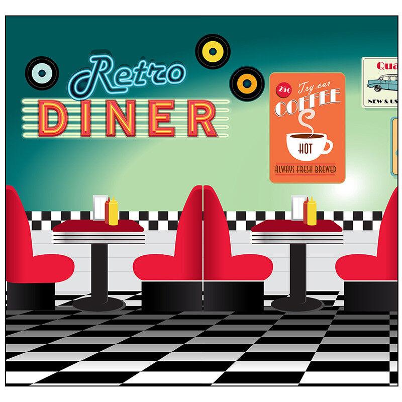 50 S Parti fond diner thème Carton Découpe Plateaux Présentoirs fifties 1950 S
