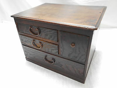 Antique Kiri And Keyaki Woods Jewellery Box Japanese Drawers Circa 1930s  #401