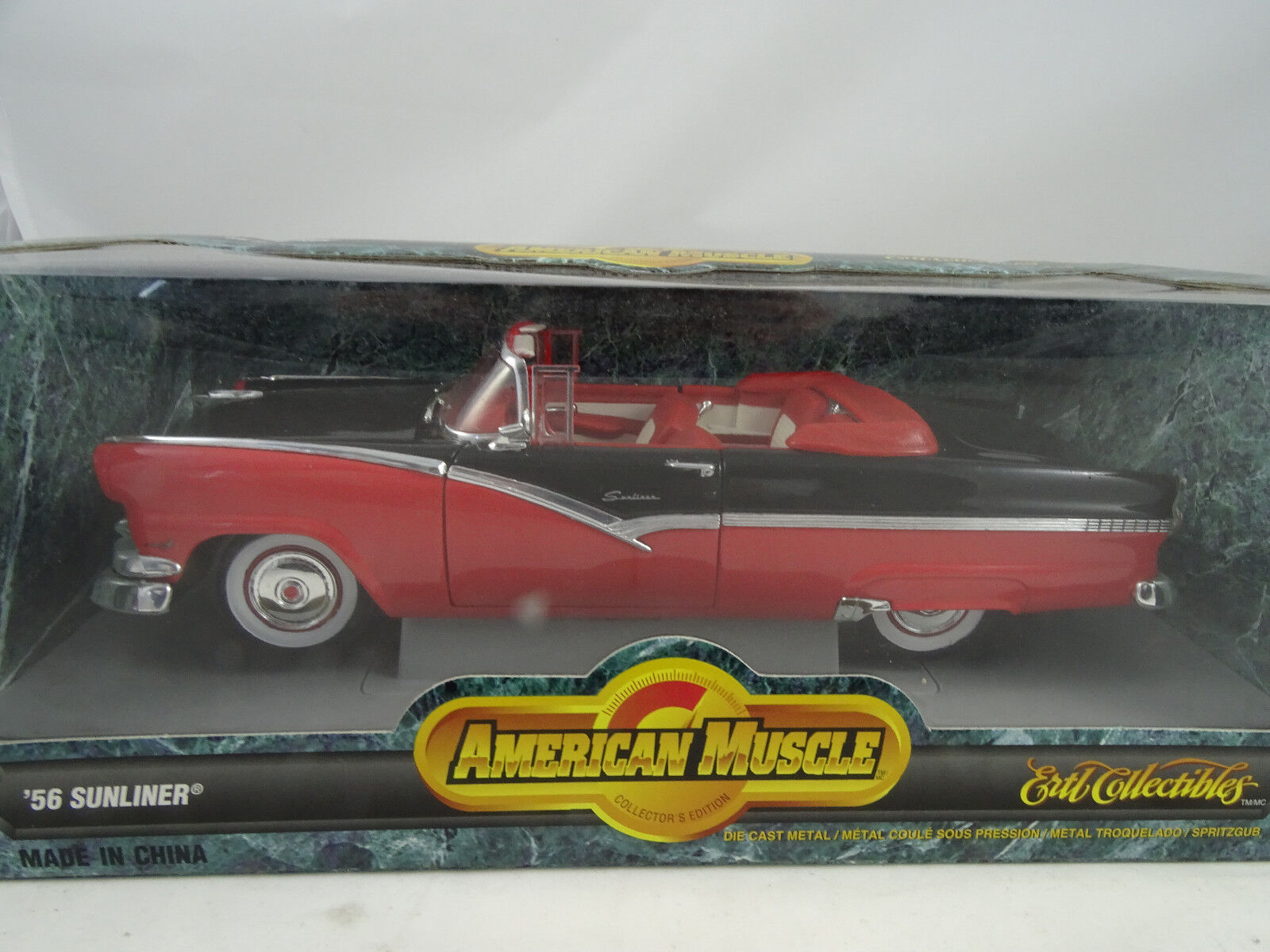 1 18 Ertl  7258 1956 Ford Sunliner 1956  rojo    Negro - Rareza§