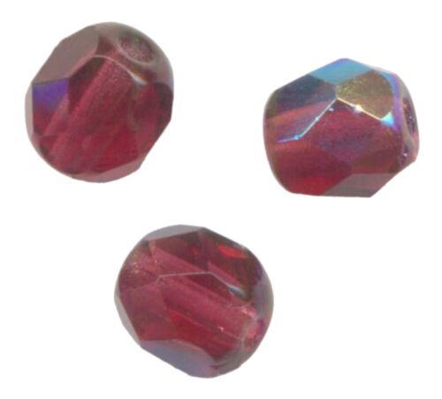 verre de bohème 50 facettes 6 mm fuchsia ab