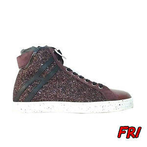 uk availability 160c3 6e890 Dettagli su HOGAN REBEL Sneakers donna bordeaux pelle e strass