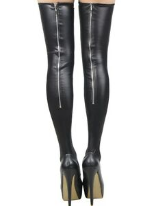 2dfb8af6034af3 Image is loading Sexy-Lady-Zipper-High-Tight-Stocking-Faux-Leather-