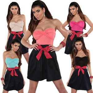 Damen Bandeau Kleid Minikleid Abendkleid Pinup Rockabilly S 32 34 36 Party Mode