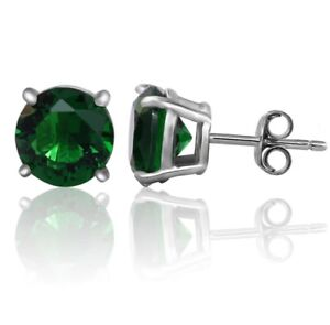 925-Sterling-Silver-Round-Green-Emerald-Solitaire-Stud-Earrings