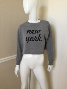 Brandy Melville John Galt Heather New York Cropped Sweatshirt Sz S