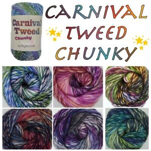 Stylecraft-CARNIVAL-TWEED-CHUNKY-Knitting-Crochet-Soft-Acrylic-Wool-Yarn-100g