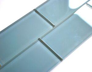Powder Blue 3x6 Shiny Subway Glass Tile Backsplash Shower