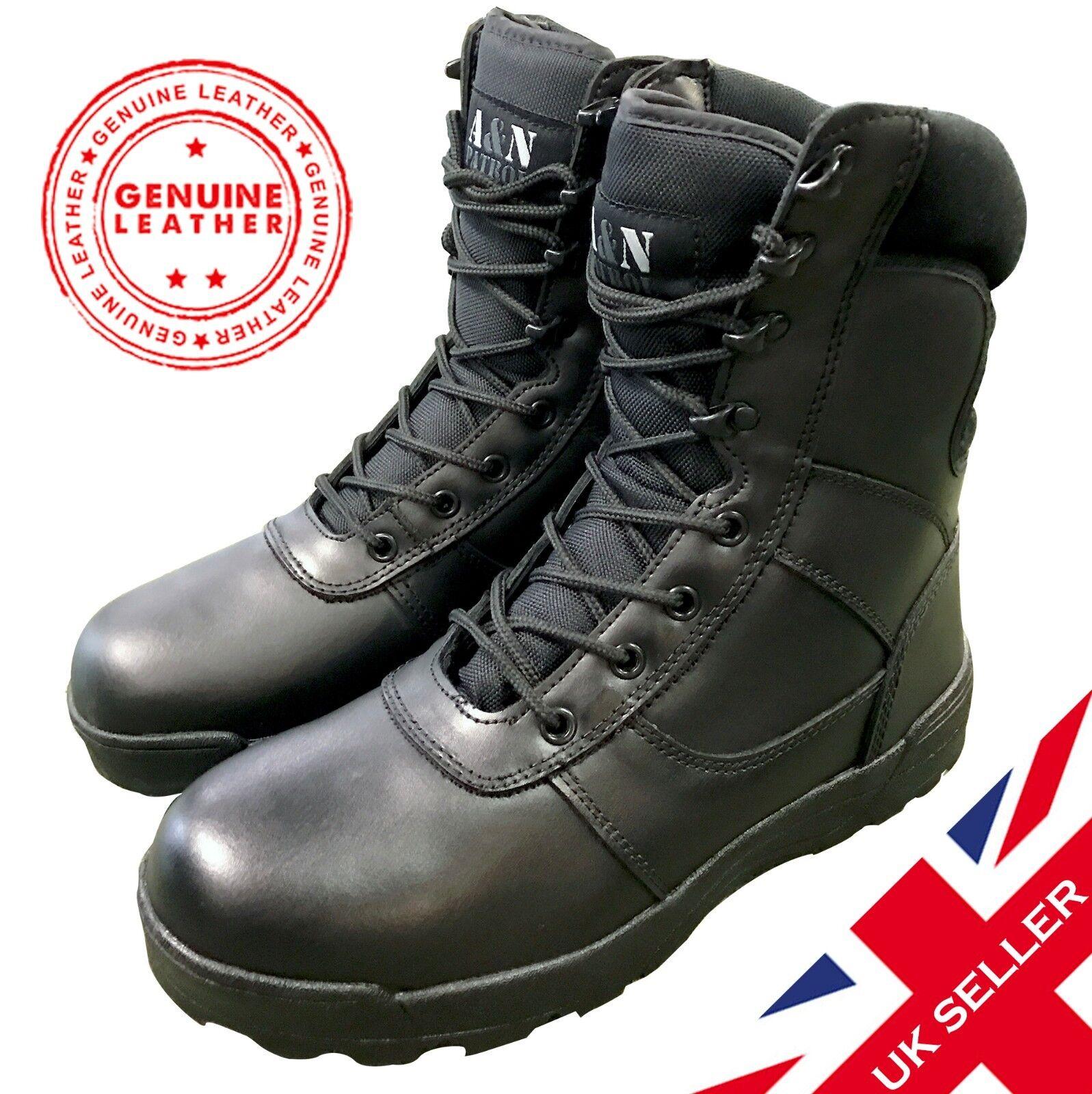 Tutti Nero in Pelle Di Sicurezza Pattuglia ANFIBI TACTICAL calzature PORTIERE Airsoft