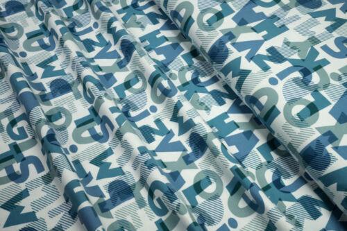 Jersey Buchstaben blau petrol auf weiß Baumwoll Jersey 0,5m