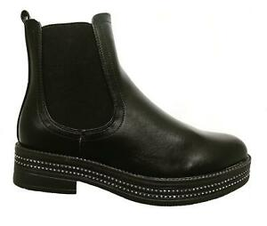Womens-Ladies-Chelsea-Ankle-Boots-Flat-Chunky-Sole-Diamante-Biker-Shoes-Size-3-8