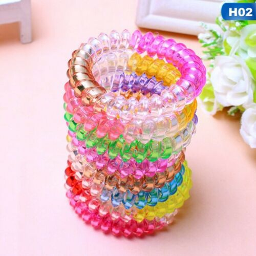 30Pcs Plastic Spiral Coil Telephone Cord Wire Hair Ties Hair Ring Bands @rui69