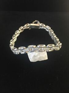 Vintage-Sterling-Silver-Bracelet-Mexico-Watch-Band-Rope-Box-Clasp-Safe-Chain-27g