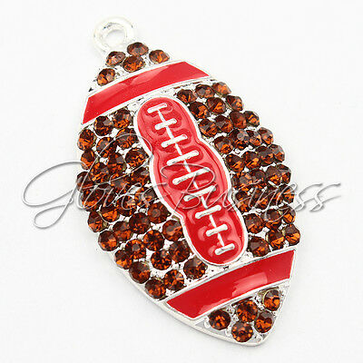 1PC 39*23mm Red American Football Pendant For Bubblegum Chunky Bead Necklace
